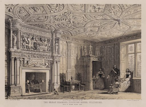 The great chamber, Stockton House, Wiltshire, seat of Henry Biggs. Illustration for Studies from Old English Mansions, Third Series, by C J Richardson (Thomas McLean, 1845).