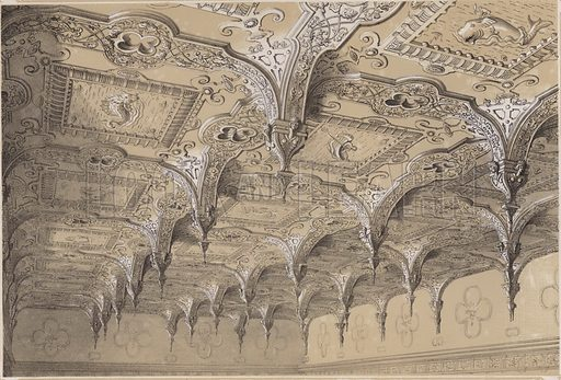 The saloon ceiling, Audley End. Illustration for Studies from Old English Mansions, Third Series, by C J Richardson (Thomas McLean, 1845).