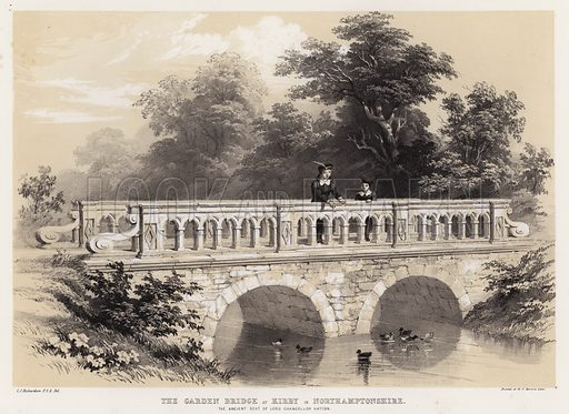 The garden bridge at Kirby in Northamptonshire, the ancient seat of Lord Chancellor Hatton. Illustration for Studies from Old English Mansions, Third Series, by C J Richardson (Thomas McLean, 1845).
