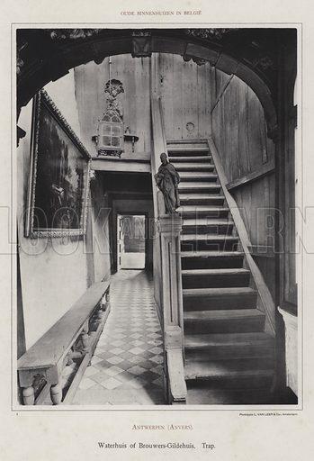 Antwerpen (Anvers), Waterhuis of Brouwers-Gildehuis, Trap. Illustration for Oude Binnenhuizen in Belgie by K Sluyterman, met 100 lichtdrukken naar opnamen van G Sigling (Martinus Nijhoff, 1913).