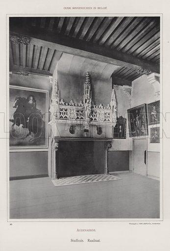 Audenaerde, Stadhuis, Raadzaal. Illustration for Oude Binnenhuizen in Belgie by K Sluyterman, met 100 lichtdrukken naar opnamen van G Sigling (Martinus Nijhoff, 1913).