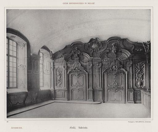 Averbode, Abdij, Sakristie. Illustration for Oude Binnenhuizen in Belgie by K Sluyterman, met 100 lichtdrukken naar opnamen van G Sigling (Martinus Nijhoff, 1913).