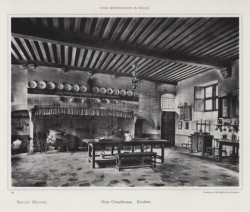 Brugge (Bruges), Huis Gruuthuuse, Keuken. Illustration for Oude Binnenhuizen in Belgie by K Sluyterman, met 100 lichtdrukken naar opnamen van G Sigling (Martinus Nijhoff, 1913).