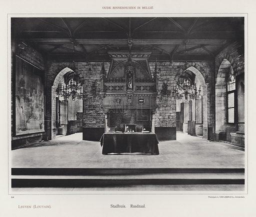 Leuven (Louvain), Stadhuis, Raadzaal. Illustration for Oude Binnenhuizen in Belgie by K Sluyterman, met 100 lichtdrukken naar opnamen van G Sigling (Martinus Nijhoff, 1913).