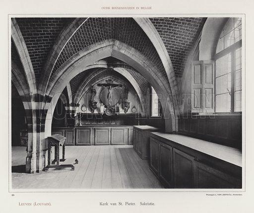 Leuven (Louvain), Kerk van St Pieter, Sakristie. Illustration for Oude Binnenhuizen in Belgie by K Sluyterman, met 100 lichtdrukken naar opnamen van G Sigling (Martinus Nijhoff, 1913).