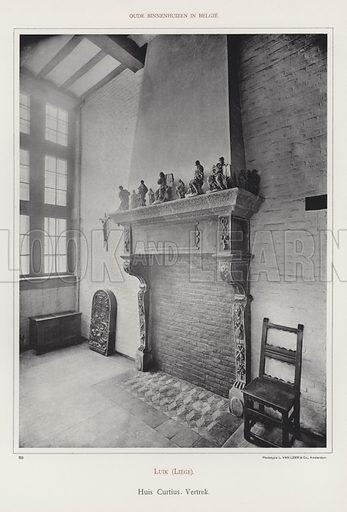 Luik (Liege), Huis Curtius, Vertrek. Illustration for Oude Binnenhuizen in Belgie by K Sluyterman, met 100 lichtdrukken naar opnamen van G Sigling (Martinus Nijhoff, 1913).