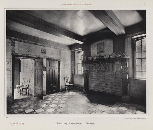 Luik (Liege), Paleis van Ansembourg, Keuken. Illustration for Oude Binnenhuizen in Belgie by K Sluyterman, met 100 lichtdrukken naar opnamen van G Sigling (Martinus Nijhoff, 1913).