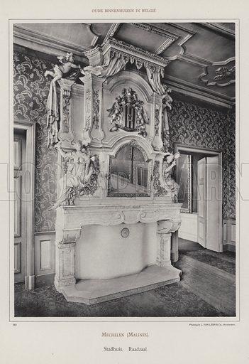 Mechelen (Malines), Stadhuis, Raadzaal. Illustration for Oude Binnenhuizen in Belgie by K Sluyterman, met 100 lichtdrukken naar opnamen van G Sigling (Martinus Nijhoff, 1913).