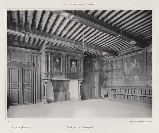 Veurne (Furnes), Stadhuis, Ontvangzaal. Illustration for Oude Binnenhuizen in Belgie by K Sluyterman, met 100 lichtdrukken naar opnamen van G Sigling (Martinus Nijhoff, 1913).