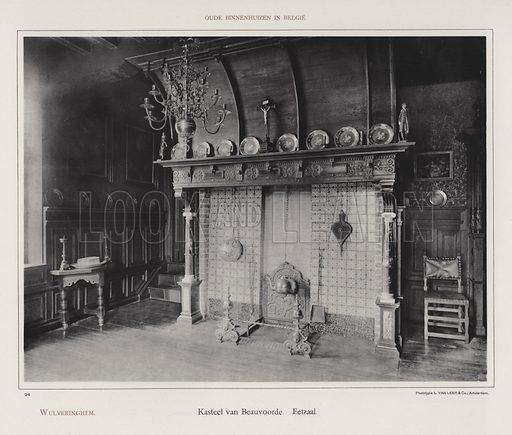 Wulveringhem, Kasteel van Beauvoorde, Eetzaal. Illustration for Oude Binnenhuizen in Belgie by K Sluyterman, met 100 lichtdrukken naar opnamen van G Sigling (Martinus Nijhoff, 1913).