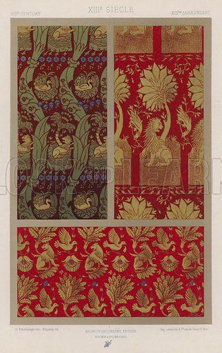 XIIIth Century, XIIIe Siecle, XIIItes Jahrhundert. Illustration for Art Industriel, L'Ornement Des Tissus by Auguste Dupont-Auberville (Ducher & Cie, 1877).