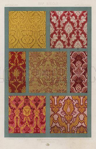 XVIth Century, XVIe Siecle, XVItes Jahrhundert. Illustration for Art Industriel, L'Ornement Des Tissus by Auguste Dupont-Auberville (Ducher & Cie, 1877).