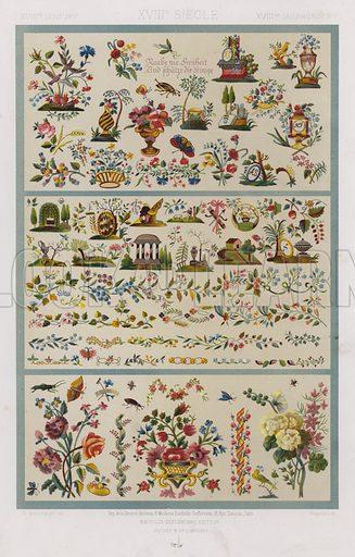 XVIIIth Century, XVIIIe Siecle, XVIIItes Jahrhunder. Illustration for Art Industriel, L'Ornement Des Tissus by Auguste Dupont-Auberville (Ducher & Cie, 1877).