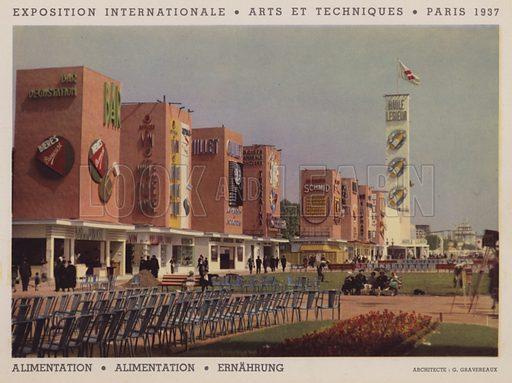"""Alimentation; Alimentation; Ernahrung. Illustration for an """"album officiel"""" of colour photos relating to Exposition Internationale des Arts et des Techniques appliques a la vie moderne, Paris 1937."""