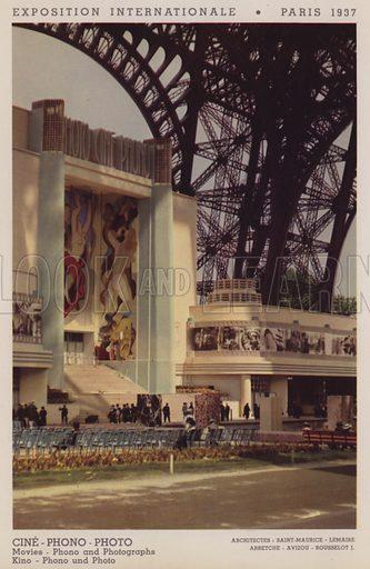 """Cine, Phono, Photo; Movies, Phono and Photographs; Kino, Phono und Photo. Illustration for an """"album officiel"""" of colour photos relating to Exposition Internationale des Arts et des Techniques appliques a la vie moderne, Paris 1937."""