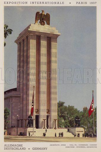 """Allemagne; Deutschland; Germany. Illustration for an """"album officiel"""" of colour photos relating to Exposition Internationale des Arts et des Techniques appliques a la vie moderne, Paris 1937."""