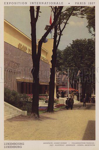 """Luxembourg; Luxemburg. Illustration for an """"album officiel"""" of colour photos relating to Exposition Internationale des Arts et des Techniques appliques a la vie moderne, Paris 1937."""