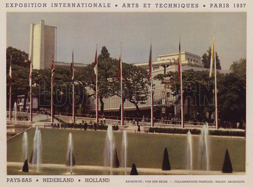 """Pays-Bas; Nederland; Holland. Illustration for an """"album officiel"""" of colour photos relating to Exposition Internationale des Arts et des Techniques appliques a la vie moderne, Paris 1937."""
