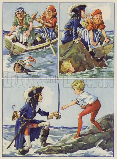 Illustration for J M Barrie's Peter Pan and Wendy, produced by Juvenile Productions Ltd, published by special arrangement with Hodder and Stoughton Ltd, c 1944.  No artist's name given.