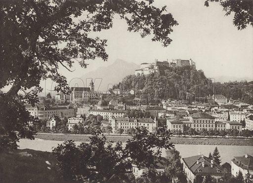 Salzburg. Illustration for Osterreich Landschaft und Baukunst by Kurt Hielscher (Ernst Wasmuth, 1928).  Gravure printed.