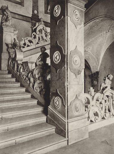 Salzburg, Treppe im Schloss Mirabell. Illustration for Osterreich Landschaft und Baukunst by Kurt Hielscher (Ernst Wasmuth, 1928).  Gravure printed.