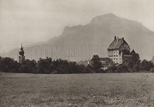 Scholss Goldenstein und Untersberg, bei Salzburg. Illustration for Osterreich Landschaft und Baukunst by Kurt Hielscher (Ernst Wasmuth, 1928).  Gravure printed.