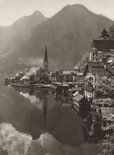 Hallstatt. Illustration for Osterreich Landschaft und Baukunst by Kurt Hielscher (Ernst Wasmuth, 1928).  Gravure printed.