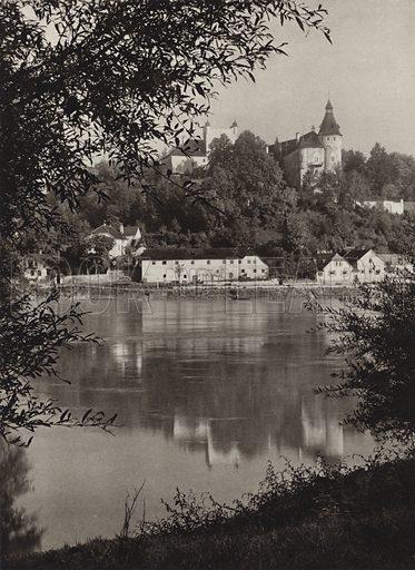 Ottensheim, Donau. Illustration for Osterreich Landschaft und Baukunst by Kurt Hielscher (Ernst Wasmuth, 1928).  Gravure printed.