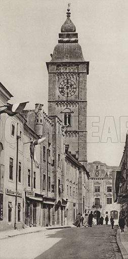 Enns, Stadtturm. Illustration for Osterreich Landschaft und Baukunst by Kurt Hielscher (Ernst Wasmuth, 1928).  Gravure printed.