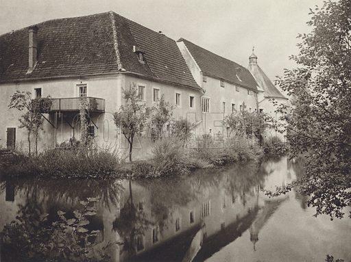 Gallspach, Wasserschloss. Illustration for Osterreich Landschaft und Baukunst by Kurt Hielscher (Ernst Wasmuth, 1928).  Gravure printed.