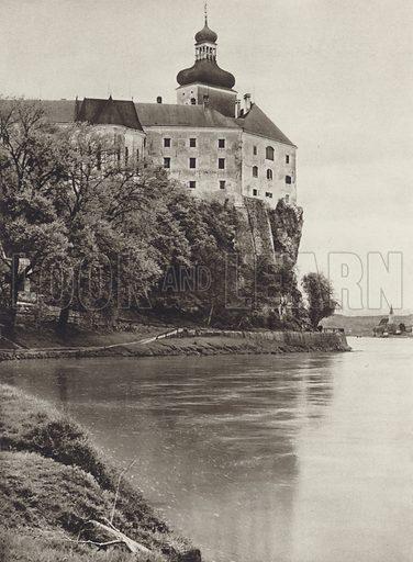 Schloss Persenbeug a d Donau. Illustration for Osterreich Landschaft und Baukunst by Kurt Hielscher (Ernst Wasmuth, 1928).  Gravure printed.