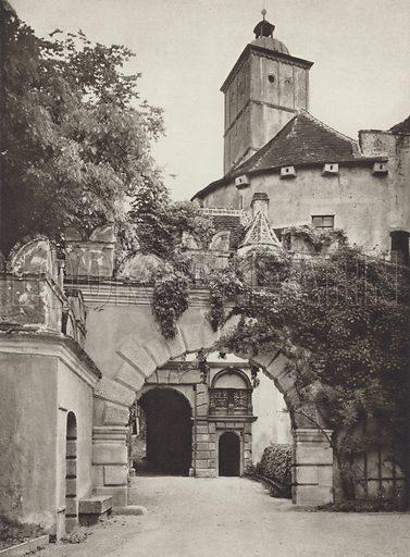 Schloss Schallaburg, Eingang. Illustration for Osterreich Landschaft und Baukunst by Kurt Hielscher (Ernst Wasmuth, 1928).  Gravure printed.
