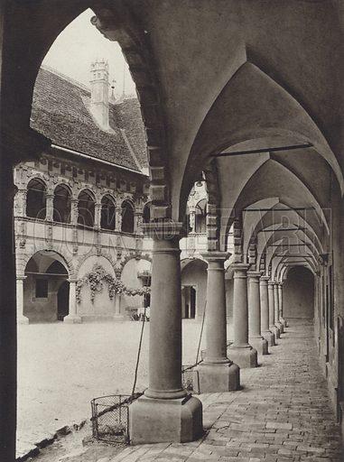 Schloss Schallaburg, Hof. Illustration for Osterreich Landschaft und Baukunst by Kurt Hielscher (Ernst Wasmuth, 1928).  Gravure printed.