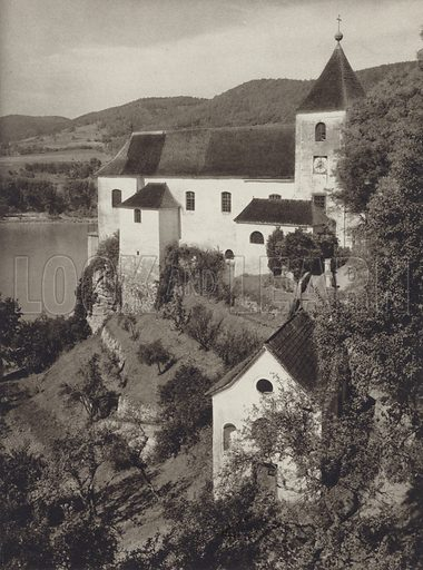 Kloster Schonbuhel, Wachau. Illustration for Osterreich Landschaft und Baukunst by Kurt Hielscher (Ernst Wasmuth, 1928).  Gravure printed.