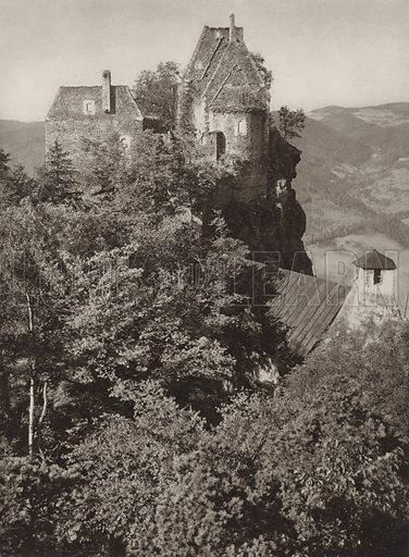 Aggstein, Wachau. Illustration for Osterreich Landschaft und Baukunst by Kurt Hielscher (Ernst Wasmuth, 1928).  Gravure printed.