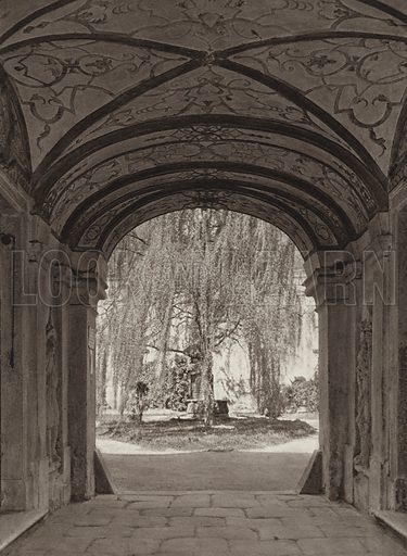 Durnstein, Eingang in das ehem, Chorherrenstift. Illustration for Osterreich Landschaft und Baukunst by Kurt Hielscher (Ernst Wasmuth, 1928).  Gravure printed.