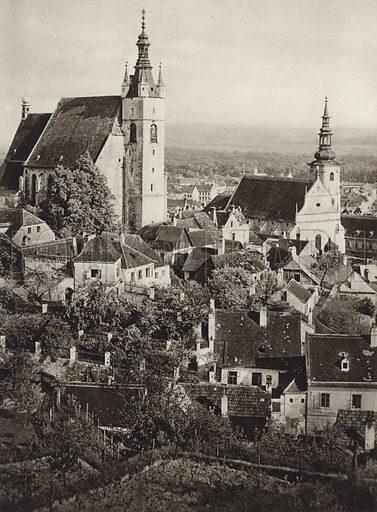 Krems, Wachau. Illustration for Osterreich Landschaft und Baukunst by Kurt Hielscher (Ernst Wasmuth, 1928).  Gravure printed.