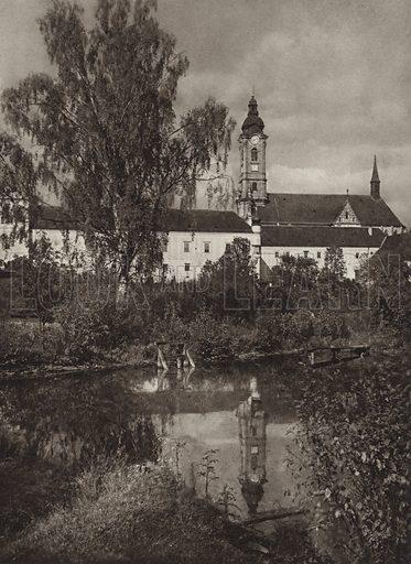 Zisterzienserstift Zwettl. Illustration for Osterreich Landschaft und Baukunst by Kurt Hielscher (Ernst Wasmuth, 1928).  Gravure printed.