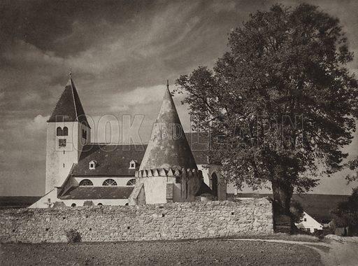Kirche und Karner in Friedersbach bei Zwettl. Illustration for Osterreich Landschaft und Baukunst by Kurt Hielscher (Ernst Wasmuth, 1928).  Gravure printed.