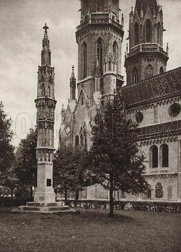 Klosterneuburg, Stiftskirche. Illustration for Osterreich Landschaft und Baukunst by Kurt Hielscher (Ernst Wasmuth, 1928).  Gravure printed.