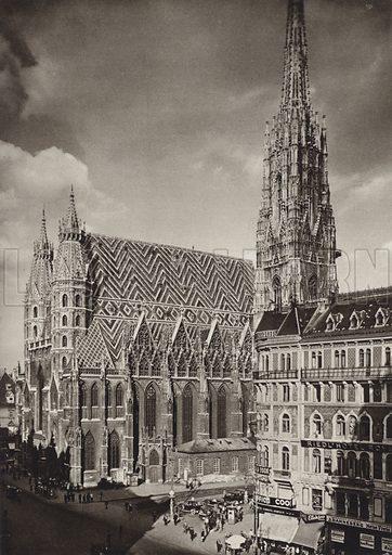Wien, Stephansdom. Illustration for Osterreich Landschaft und Baukunst by Kurt Hielscher (Ernst Wasmuth, 1928).  Gravure printed.