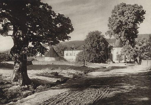 Schloss Kobersdorf. Illustration for Osterreich Landschaft und Baukunst by Kurt Hielscher (Ernst Wasmuth, 1928).  Gravure printed.