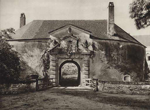 Schloss Kobersdorf, Torturm. Illustration for Osterreich Landschaft und Baukunst by Kurt Hielscher (Ernst Wasmuth, 1928).  Gravure printed.