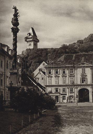 Graz, Karmelitenplatz. Illustration for Osterreich Landschaft und Baukunst by Kurt Hielscher (Ernst Wasmuth, 1928).  Gravure printed.
