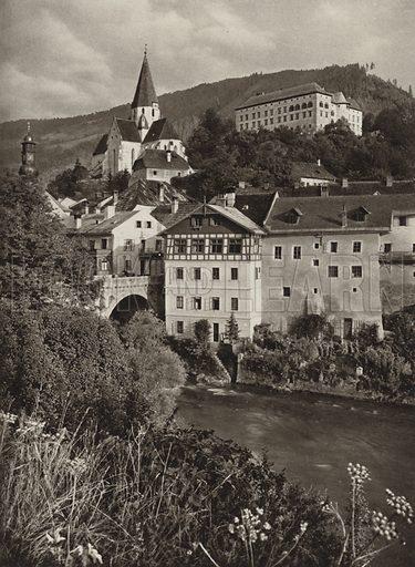Murau. Illustration for Osterreich Landschaft und Baukunst by Kurt Hielscher (Ernst Wasmuth, 1928).  Gravure printed.