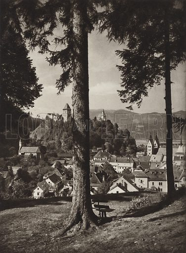 Friesach. Illustration for Osterreich Landschaft und Baukunst by Kurt Hielscher (Ernst Wasmuth, 1928).  Gravure printed.