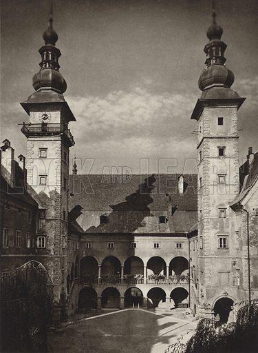 Klagenfurt, Landhaus. Illustration for Osterreich Landschaft und Baukunst by Kurt Hielscher (Ernst Wasmuth, 1928).  Gravure printed.
