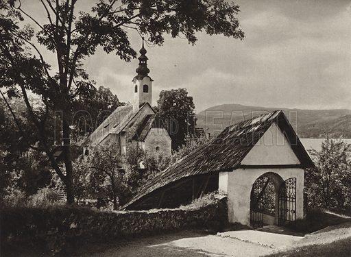 Rosenkranzkirche Maria, Worth am Worther See. Illustration for Osterreich Landschaft und Baukunst by Kurt Hielscher (Ernst Wasmuth, 1928).  Gravure printed.