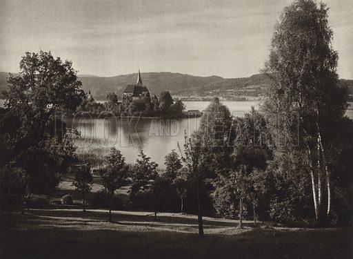 Maria-Worth. Illustration for Osterreich Landschaft und Baukunst by Kurt Hielscher (Ernst Wasmuth, 1928).  Gravure printed.