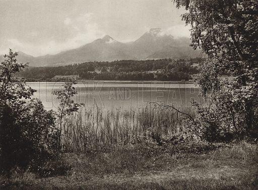 Faaker See. Illustration for Osterreich Landschaft und Baukunst by Kurt Hielscher (Ernst Wasmuth, 1928).  Gravure printed.